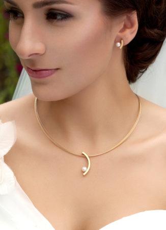 moderner brautschmuck gold perlen